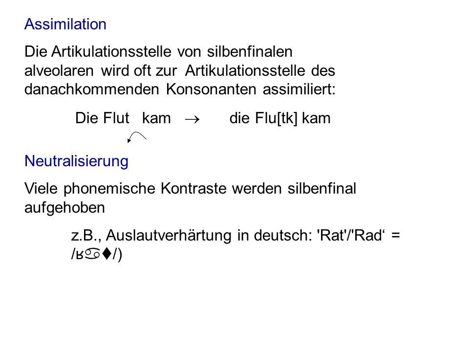 Assimilation Die Flut kam ® die Flu[tk] kam.